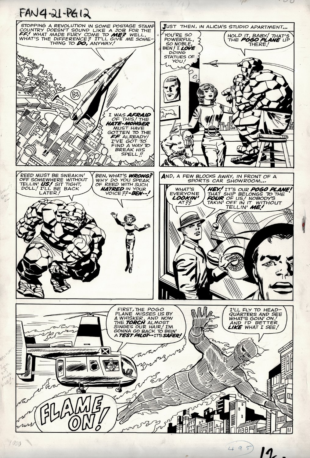 Fantastic Four #21 p 11 (GREAT THING & HUMAN TORCH ACTION PAGE!) Large Art - 1963