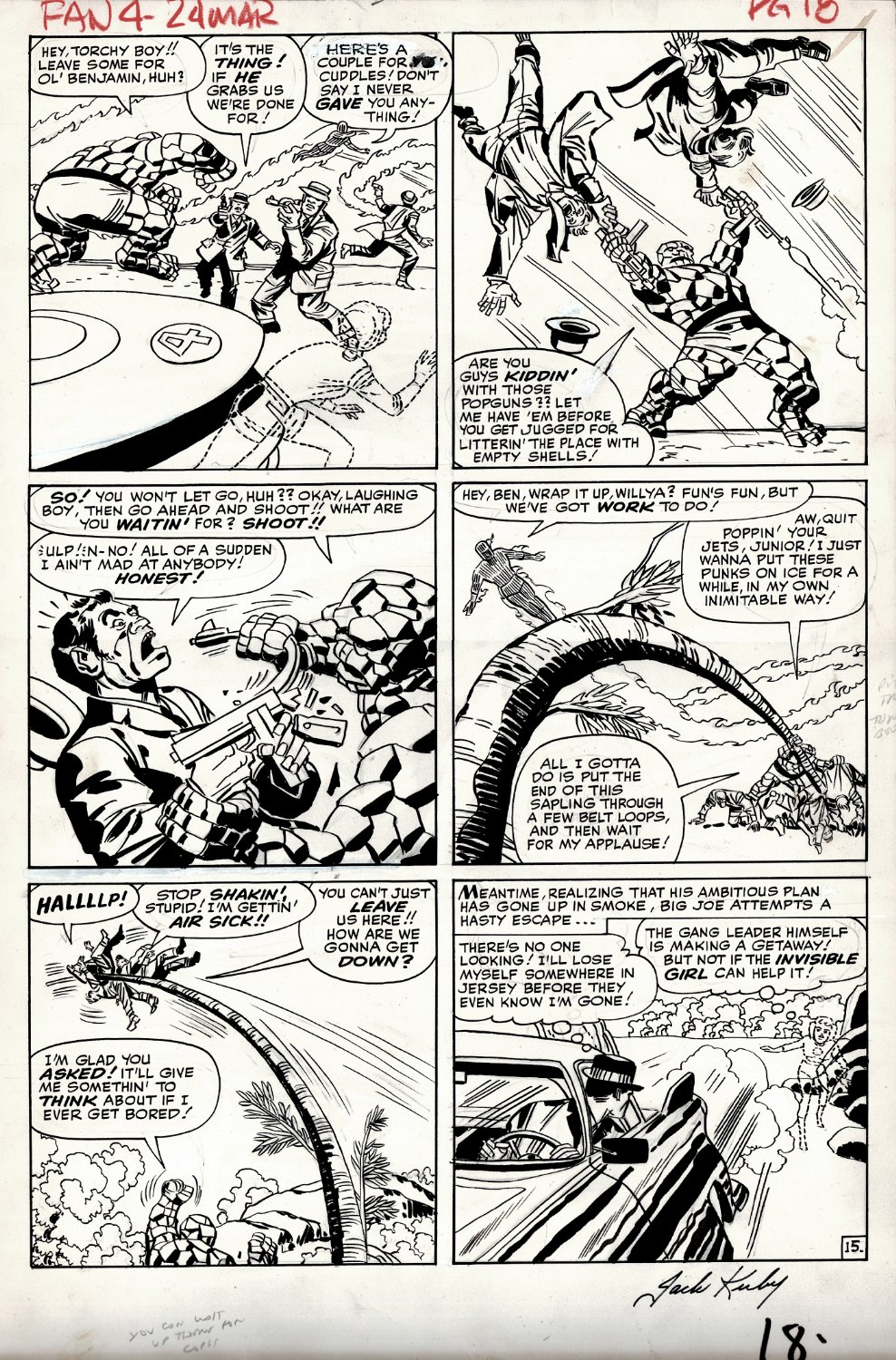 Fantastic Four #24 p 15 (THING, HUMAN TORCH, INVISIBLE GIRL ALL BATTLING THROUGHOUT ENTIRE PAGE!) Large Art - 1963