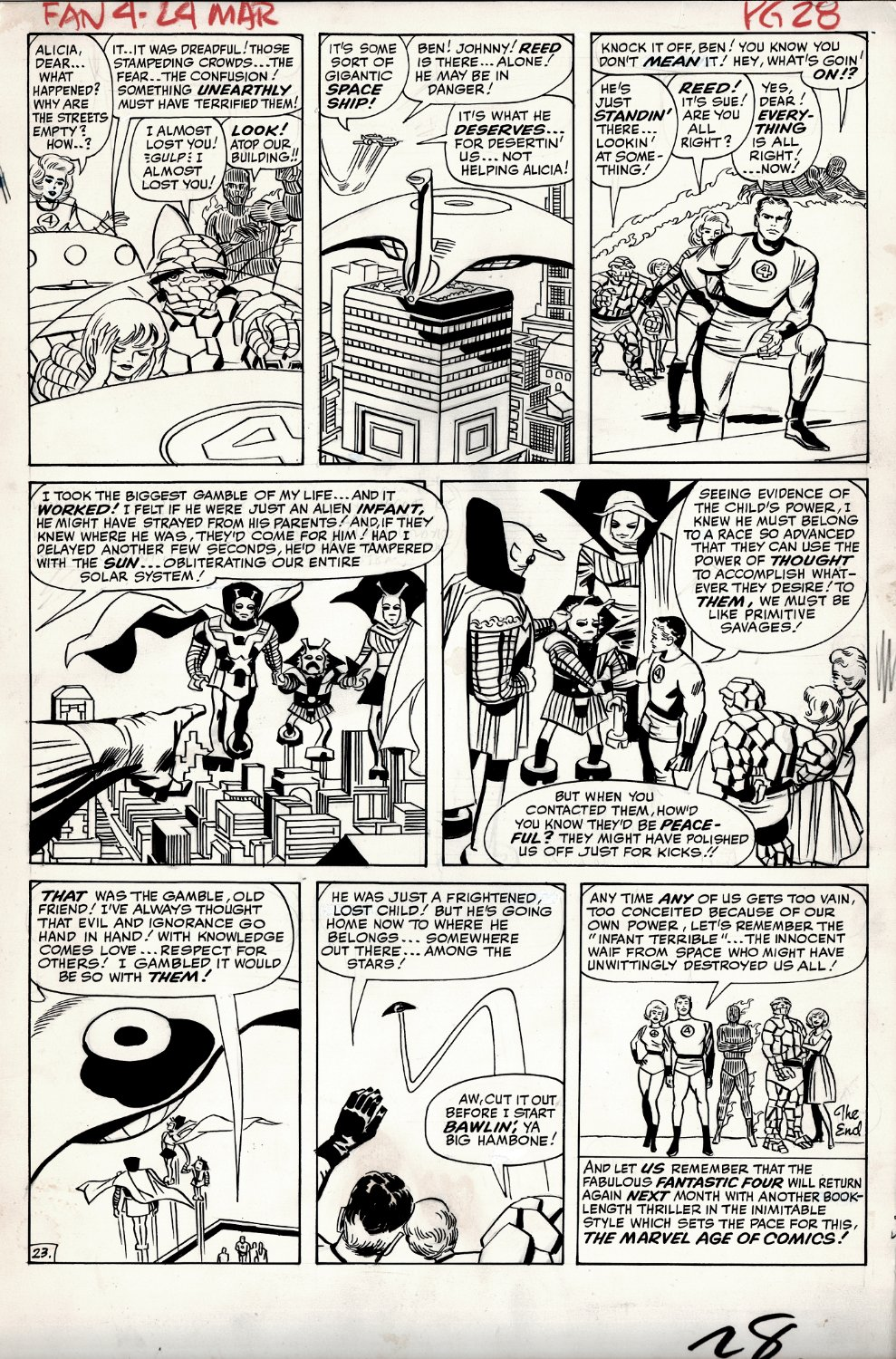 Fantastic Four #24 p 23 (THING, HUMAN TORCH, MR. FANTASTIC, INVISIBLE GIRL, INFANT TERRIBLE THROUGHOUT ENTIRE PAGE!) Large Art - 1963