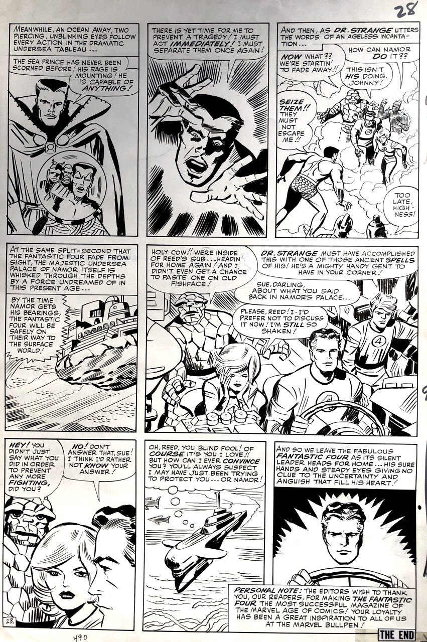 Fantastic Four #27 Last Page (ALL 4 FF, Dr. STRANGE, & SUB-MARINER!) 1963