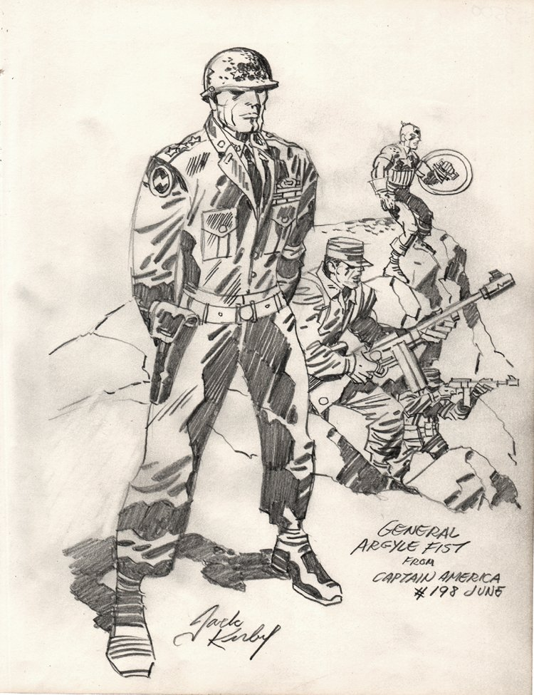 General Argyle Fist & Captain America Pinup (Published In Famed 'Heroes & Villains' Sketchbook) 1976