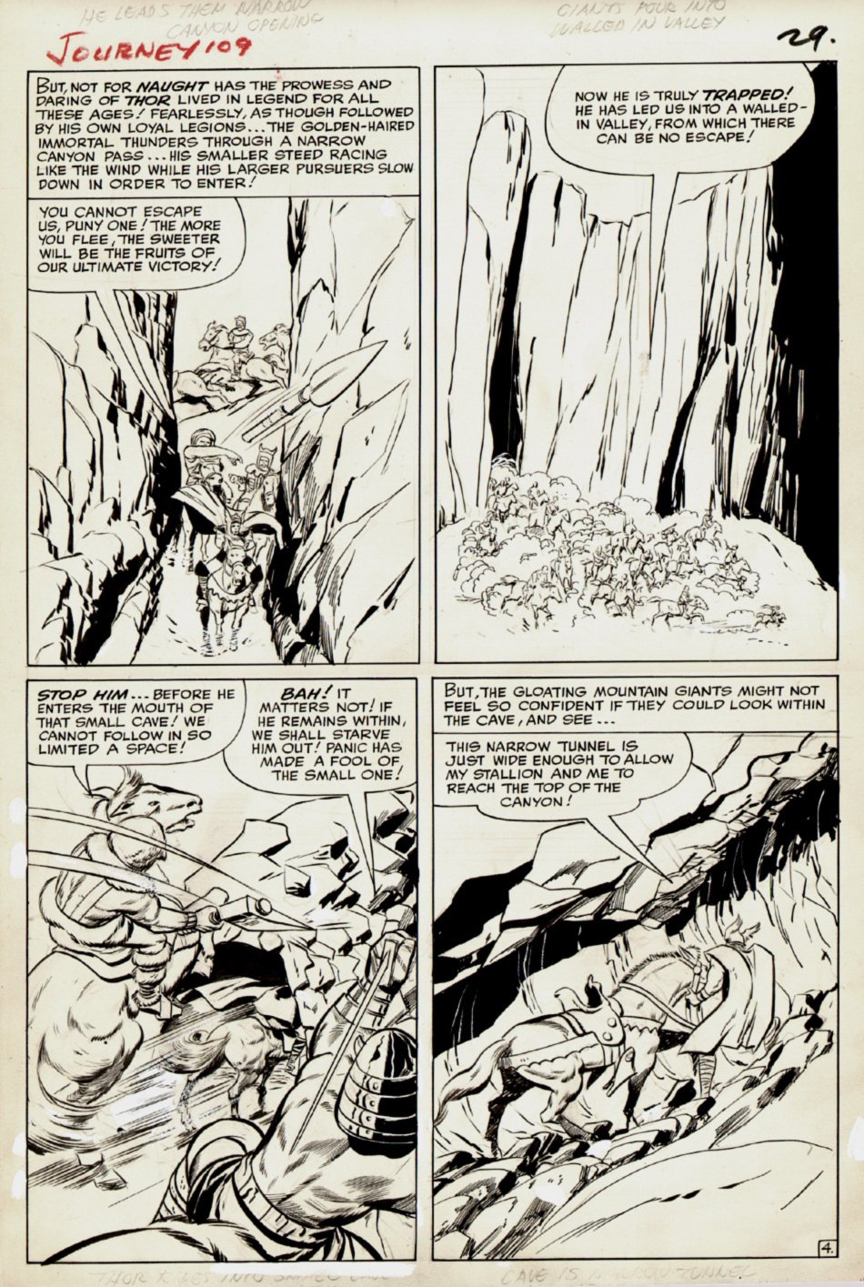 Journey Into Mystery #109 p 4 (THOR IN 3 OF 4 PANELS!) Large Art - 1964