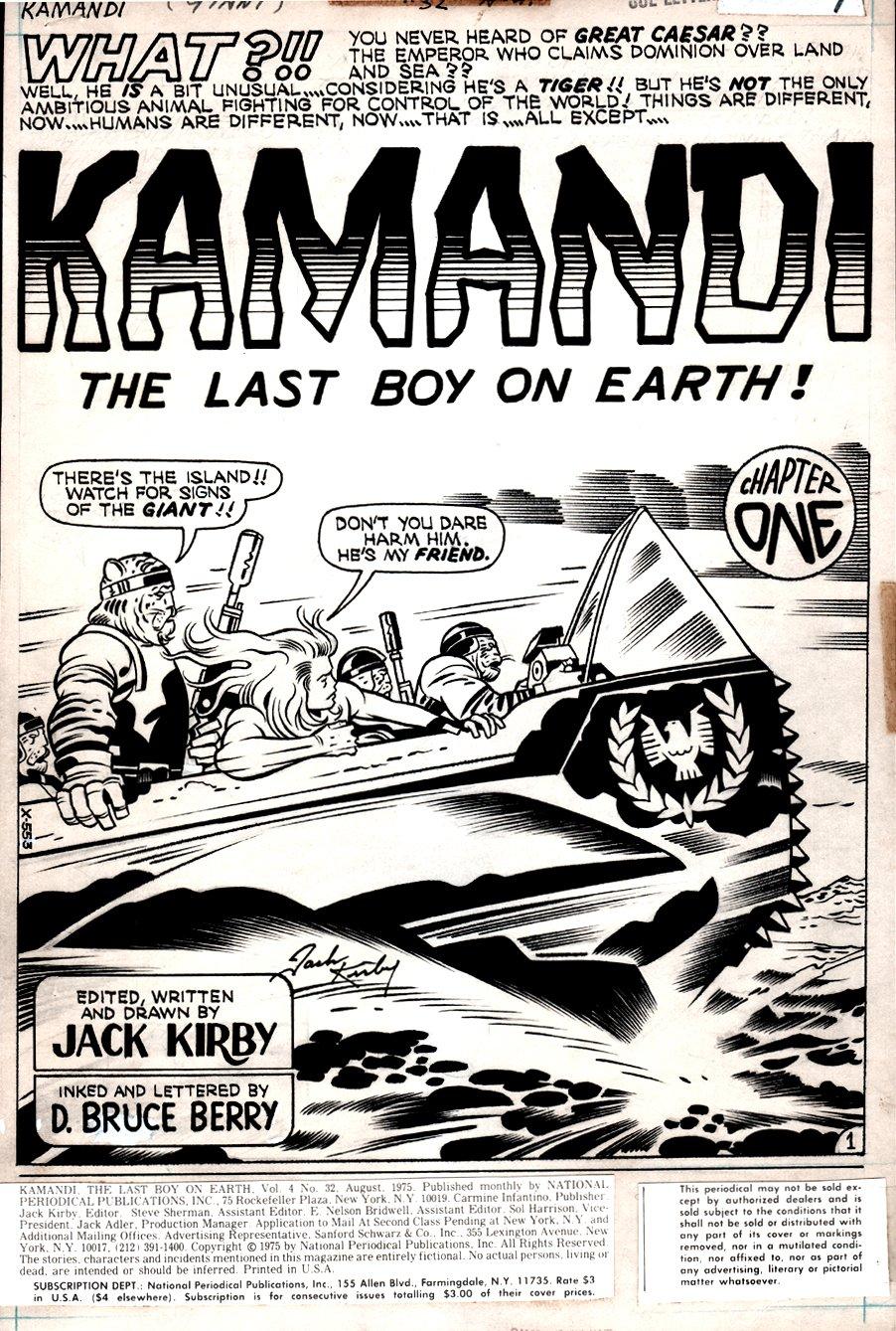 Kamandi #32 p 1 SPLASH  (Kamandi & Beast-Men!) 1975