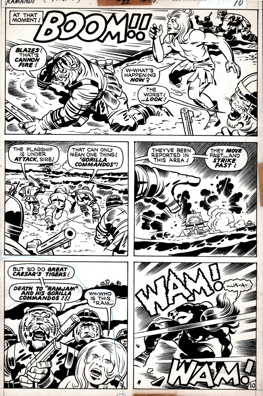 Kamandi #32 p 10 (Kamandi In 4 of 5 panels With Tiger Men, Battling The Gorilla Commandos!) 1975