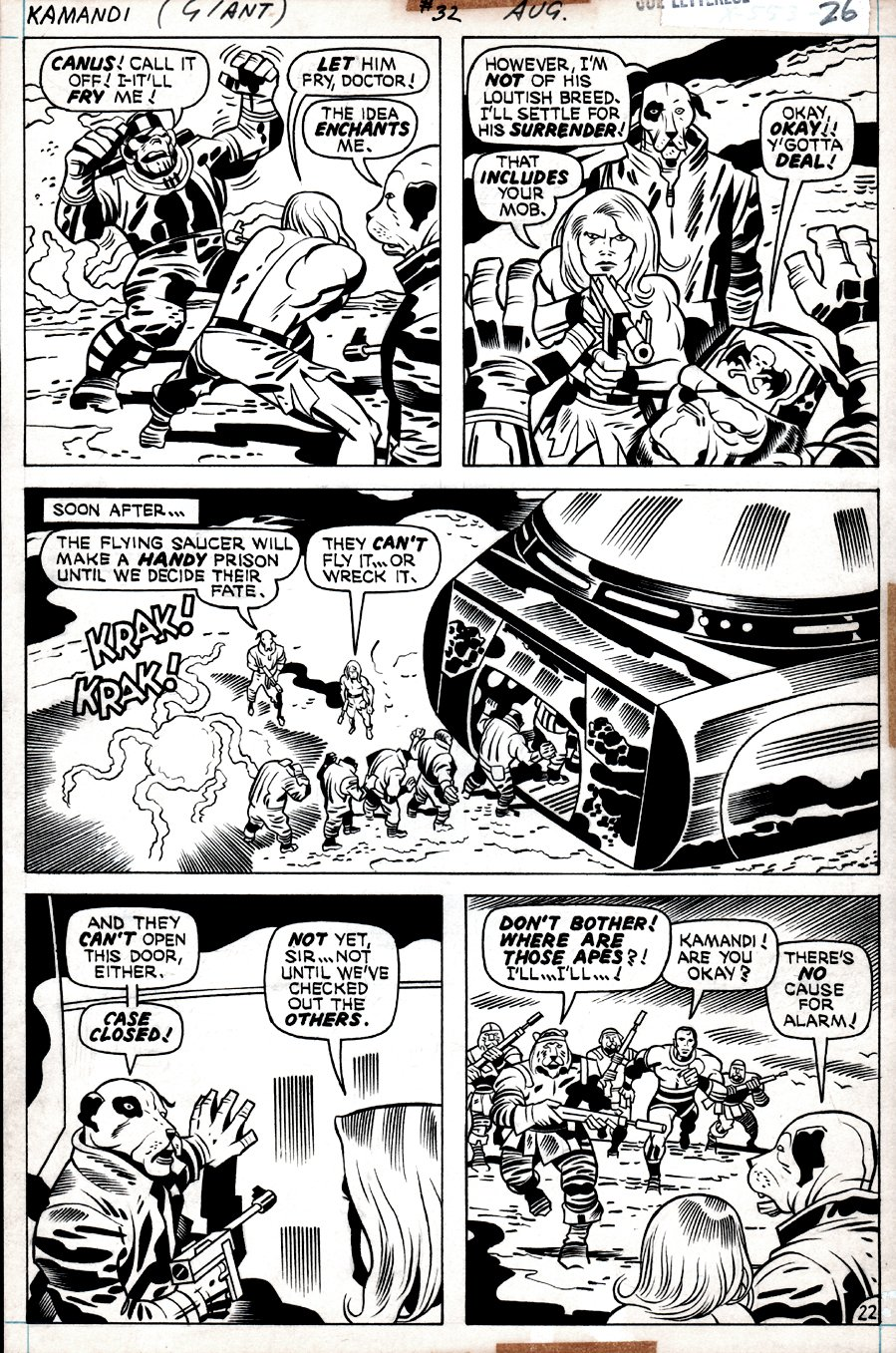 Kamandi #32 p 22  (Kamandi In ALL 5 PANELS, Dr. Canus, Beast-Men, Gorilla Commandos Captured!) 1975