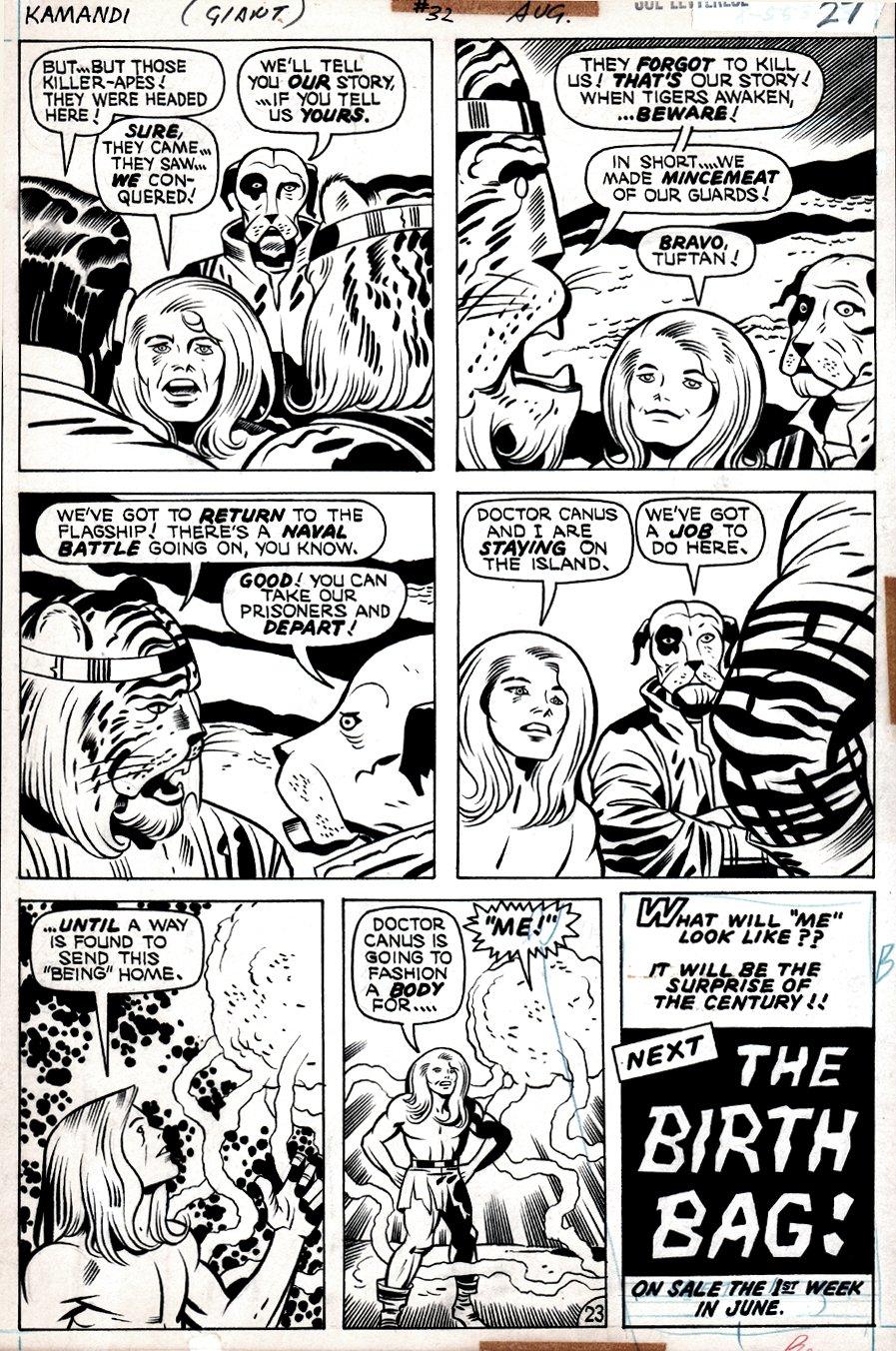 Kamandi #32 p 23 (Kamandi In EVERY PANEL, Dr. Canus, Ben Boxer, Beastmen!) 1975