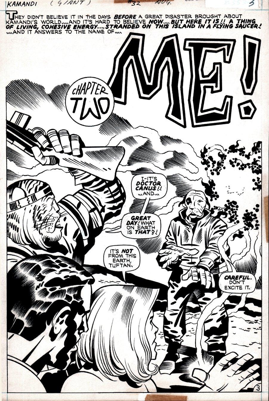 Kamandi #32 p 3  SPLASH (KAMANDI, DR. CANUS, BEN BOXER, THE BEASTMEN!) 1975