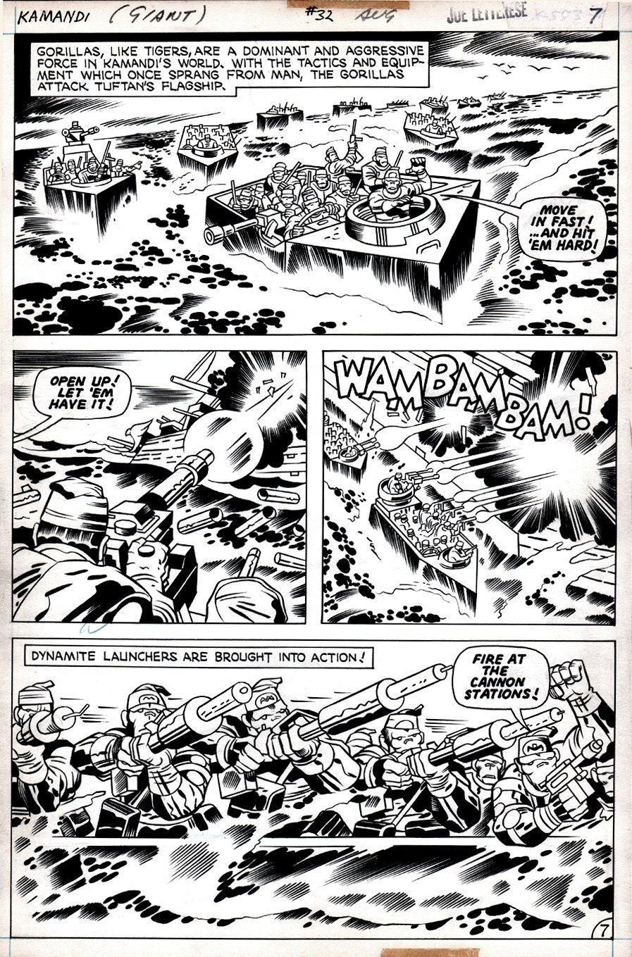 Kamandi #32 p 7 (Tiger Men Battle The Gorilla Commandos!) 1975