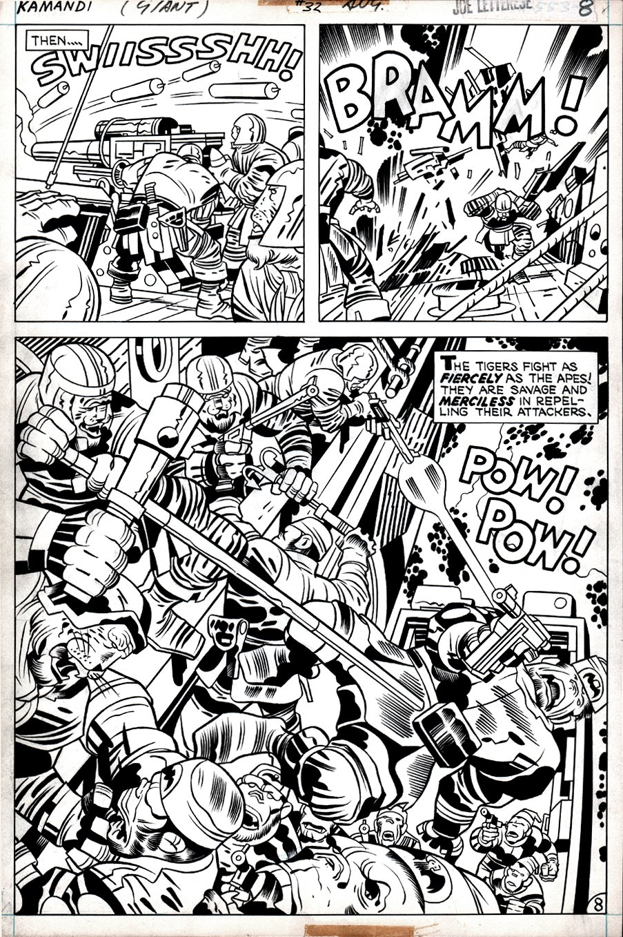 Kamandi #32 p 8 SPLASH  (Tiger Men Battle The Gorilla Commandos!) 1975