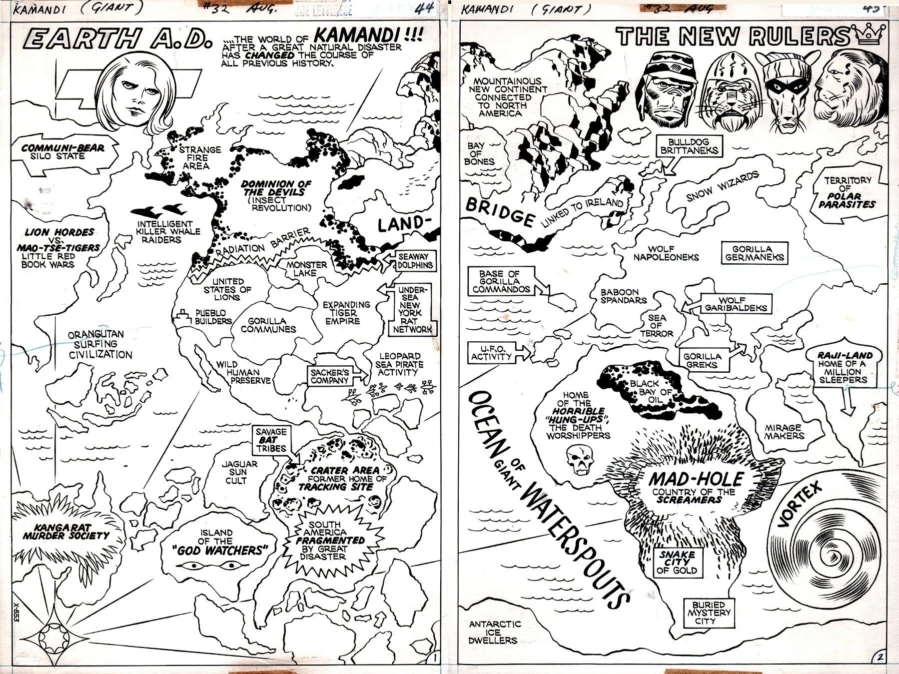Kamandi #32 p 44-45 (2 SPLASH PAGES!) 1975