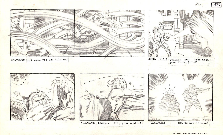 Fantastic Four 'Blastaar the Living Bomb Burst' Animation Storyboard Art (MR FANTASTIC, INVISIBLE GIRL, BLASTAAR, LOCKJAW BATTLE!) 1978
