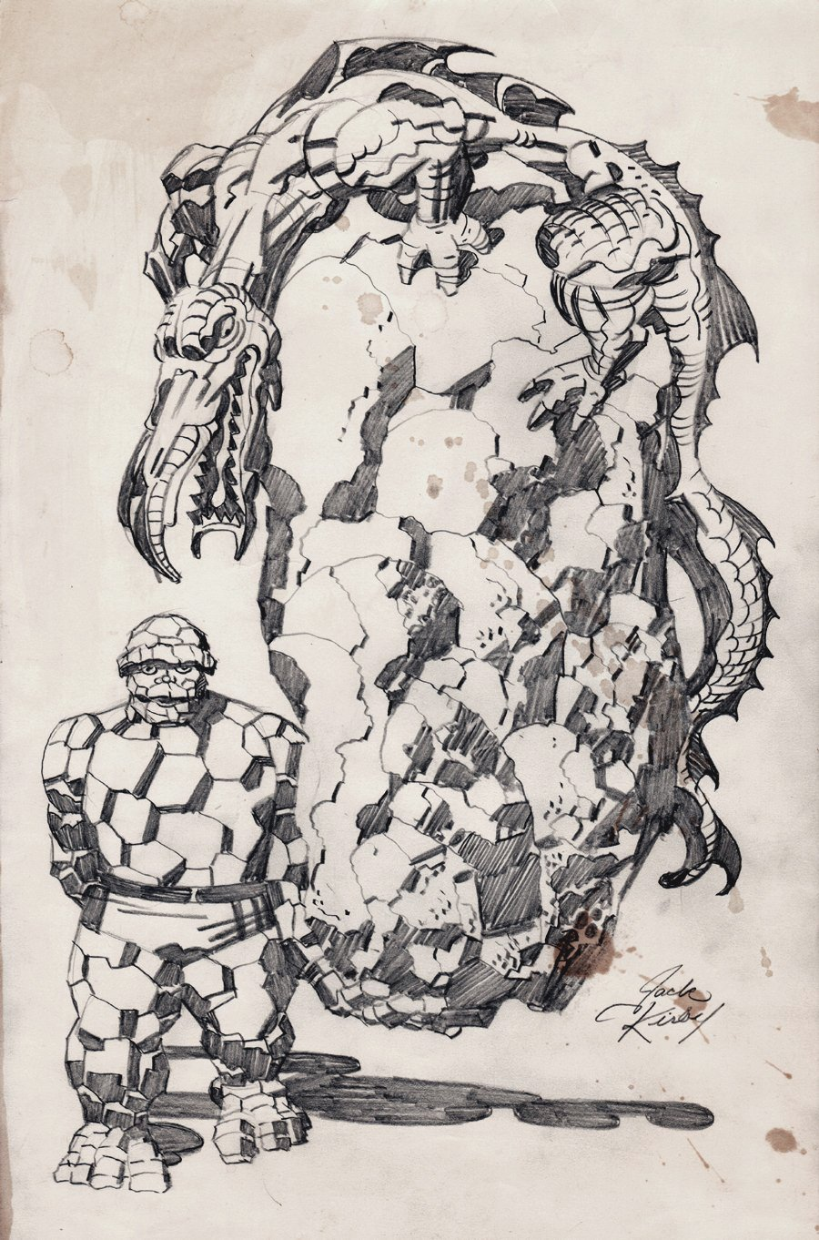 Silver Age Cover Sized Thing & Reptile Monster Fully Penciled Pinup! (1960s)