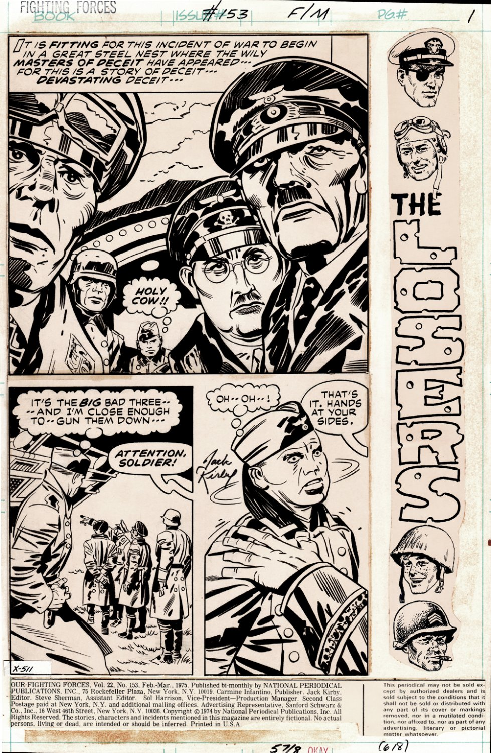 Our Fighting Forces #153 (Complete 18 Page Story, HITLER, HIMMLER, ROMMEL, 5 SPLASHES!) 1974