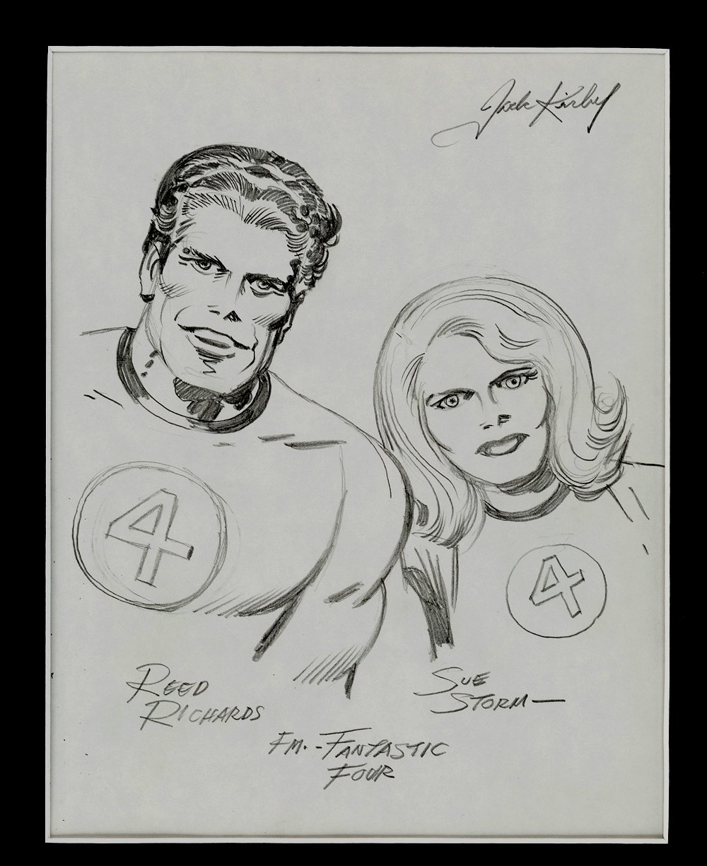 Mr Fantastic & Invisible Girl Pinup Published In Famed 'Heroes & Villains' Sketchbook (Early 1970's)