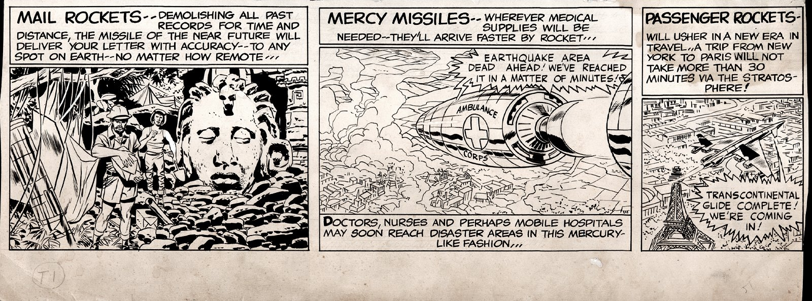 SKY MASTERS Bottom 1/3 Sunday Strip Art 5-24-1959