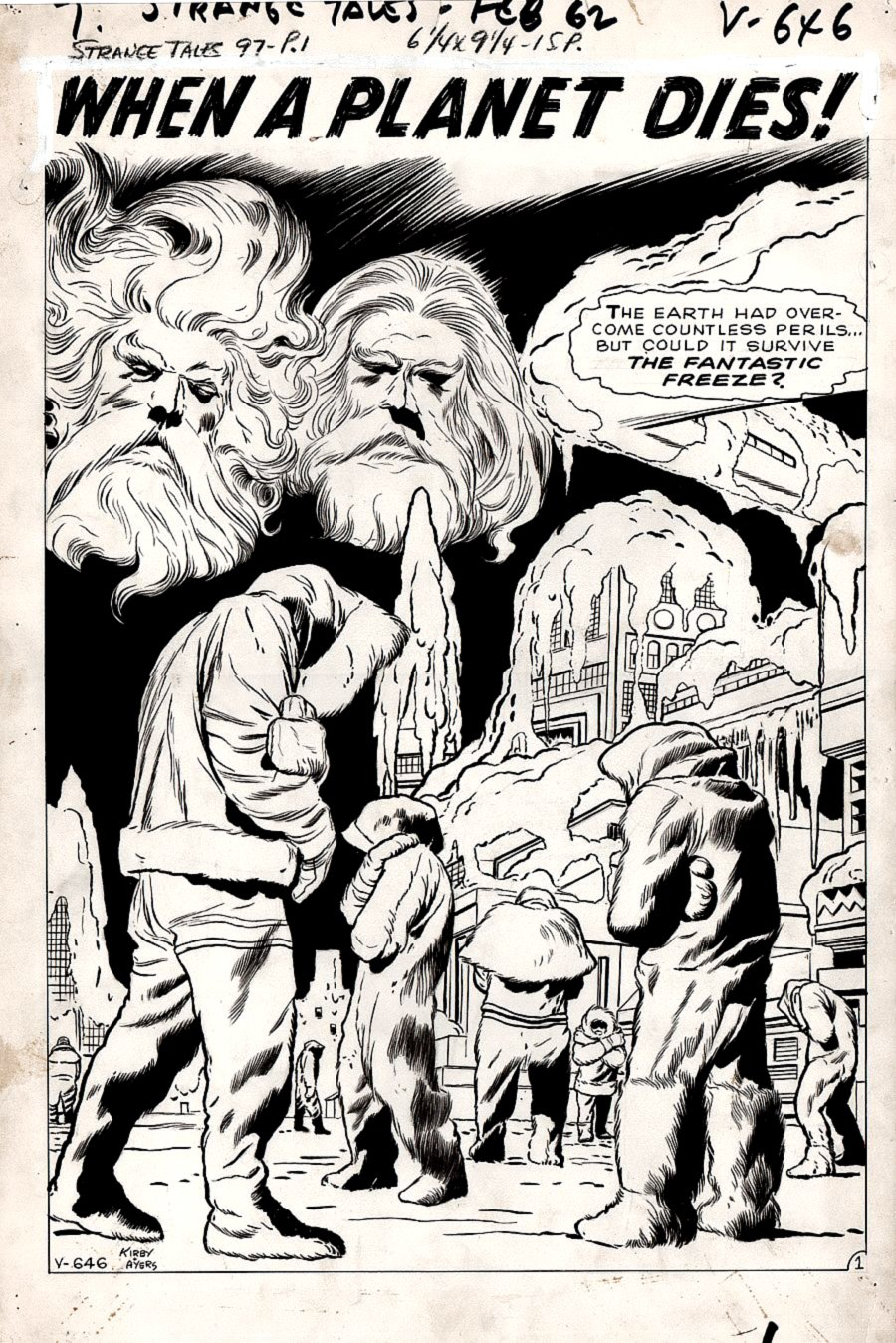 Strange Tales #97 p 1 SPLASH (PRE-HERO END OF THE WORLD SPLASH!) Large Art - 1962