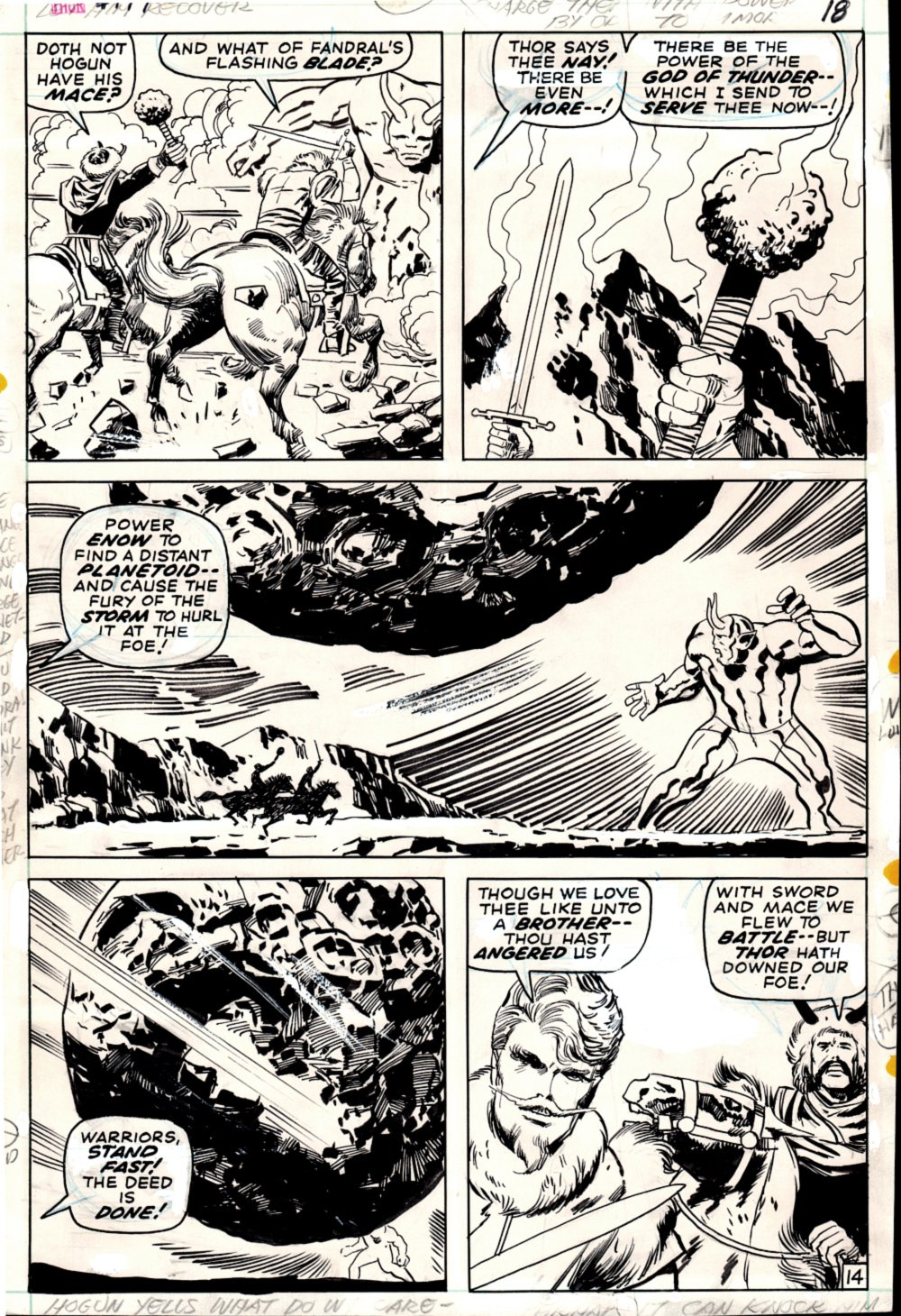 Thor #177 p 14 (Fandral & Hogun Battling The Monstrous TOAG!) 1970