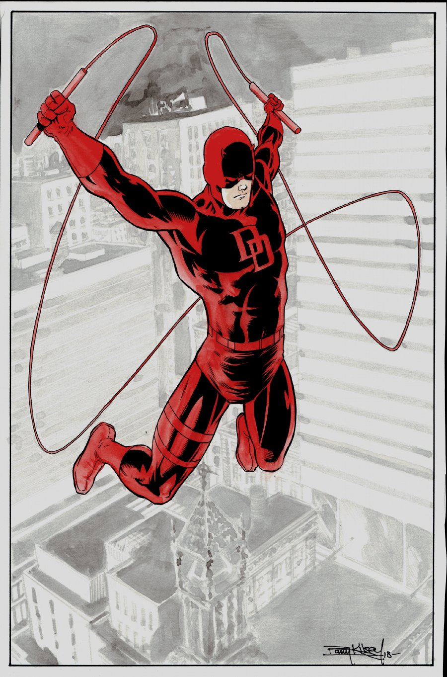 Stunning Daredevil Mixed Media Hand Colored Pinup
