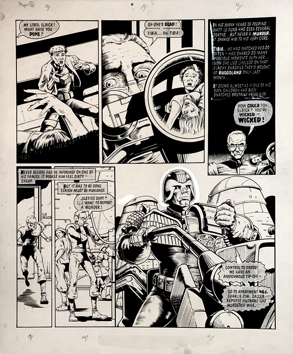 2000 AD #491 p 3 (DREDD REPORTS ON A MURDER!) Large Art - 1986