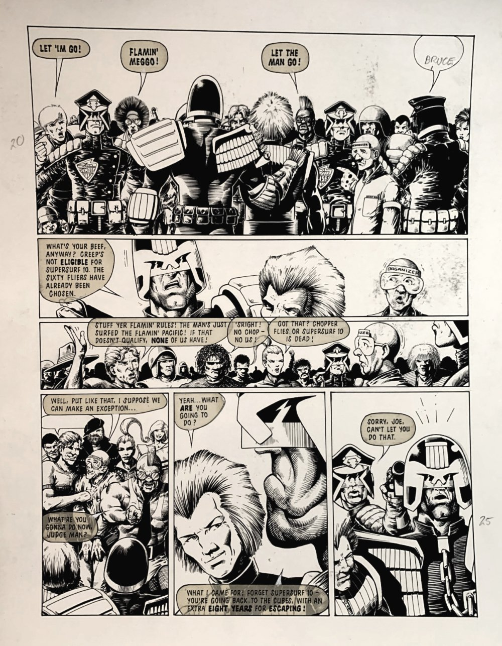 2000 AD #557 p 3 (DREDD Verbally Battles People & Another Judge!) Large Art - 1987