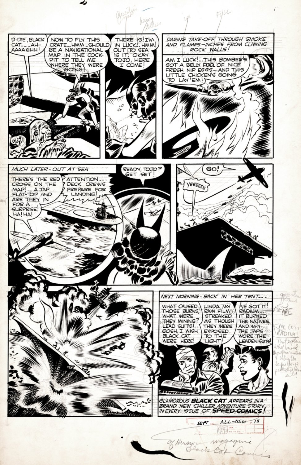 Speed Comics p 8 (BLACK CAT KILLING JAPANESE SOLDIERS DURING WORLD WAR 2!) Early 1940s