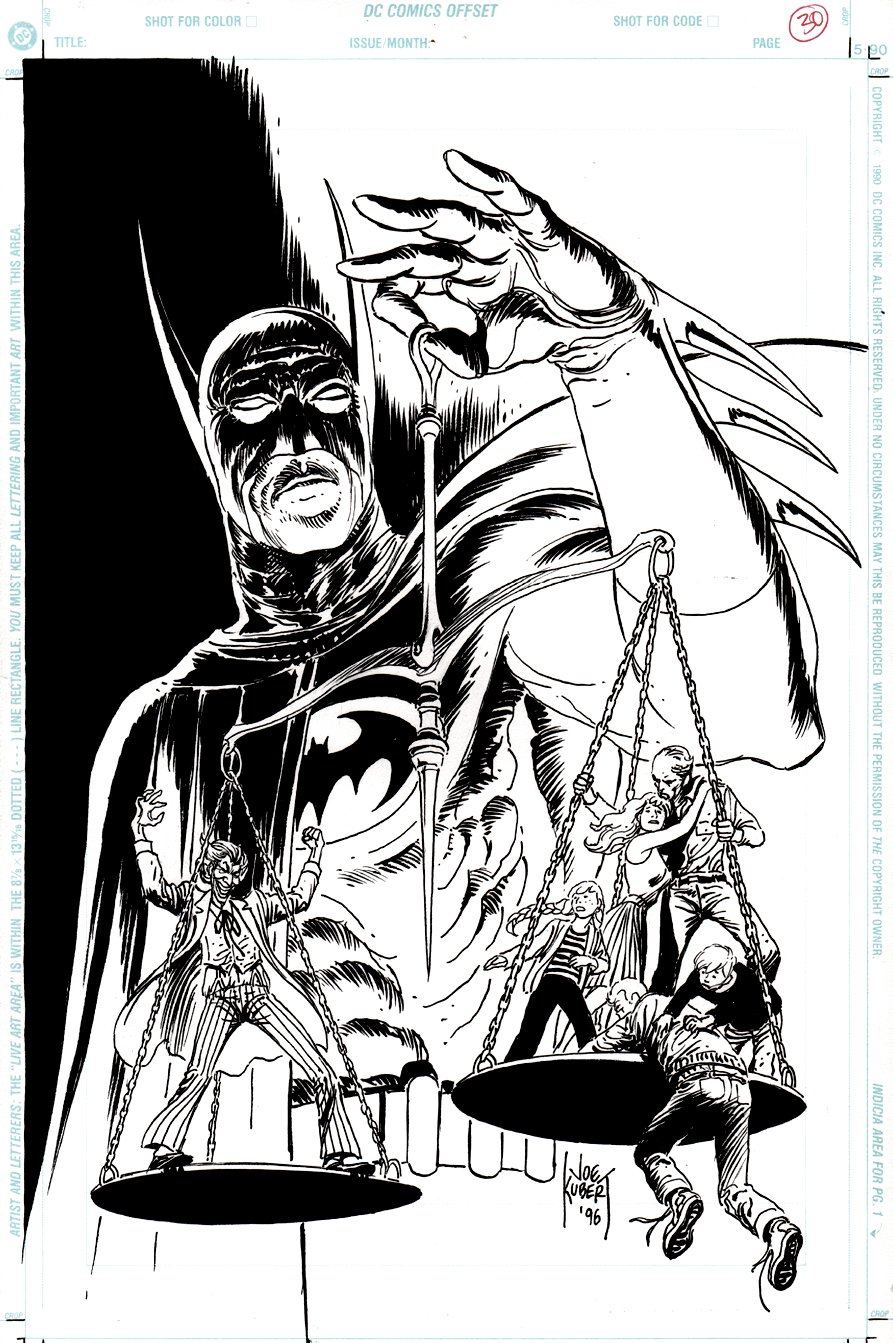 Batman Chronicles Gallery #1 COVER QUALITY SPLASH (With Pencil Prelim & Hand Colored Color Guide!) 1996