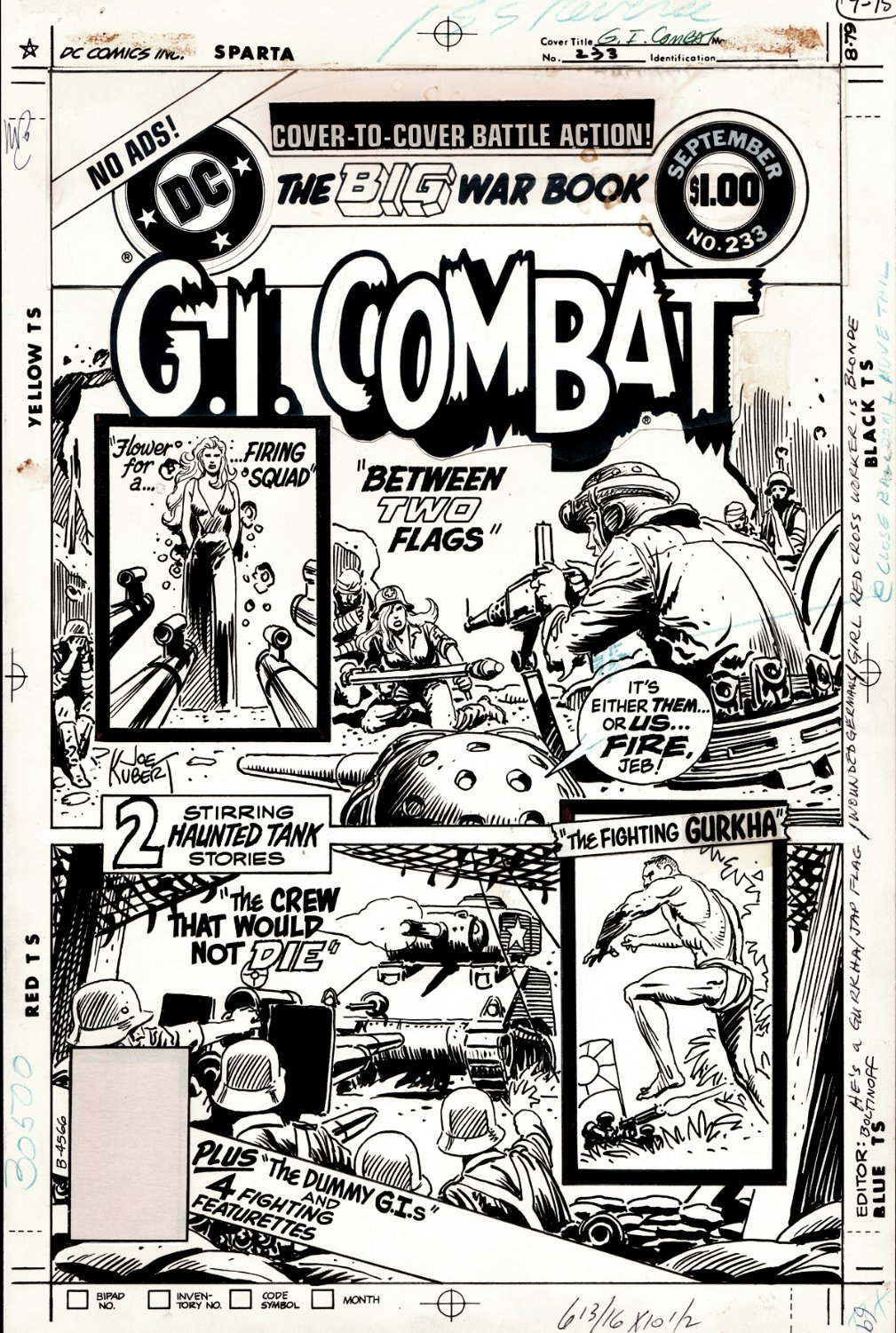 G.I. Combat #233 Cover (JOE KUBERT MAGIC!) 1981