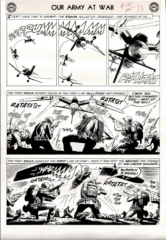 Our Army at War #133 p 11 (SGT ROCK & EASY BATTLING GERMAN STUKA!) Large Art - 1963