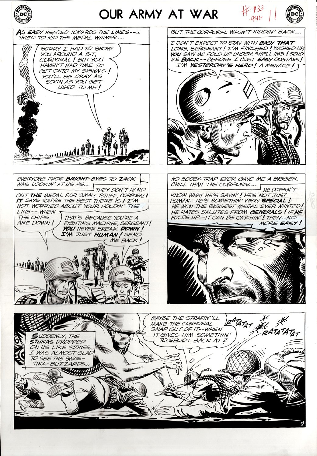 Our Army at War #133 p 9 (SGT ROCK EVERY PANEL, NAZI BATTLE!) Large Art - 1963