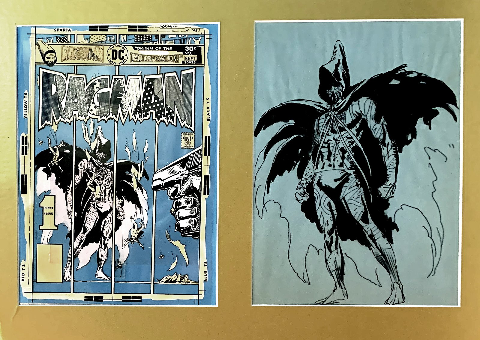 Ragman #1 Unpublished Cover Art With Actual Ragman #1 Cover Acetate Color Separations Created From This Art (1976)