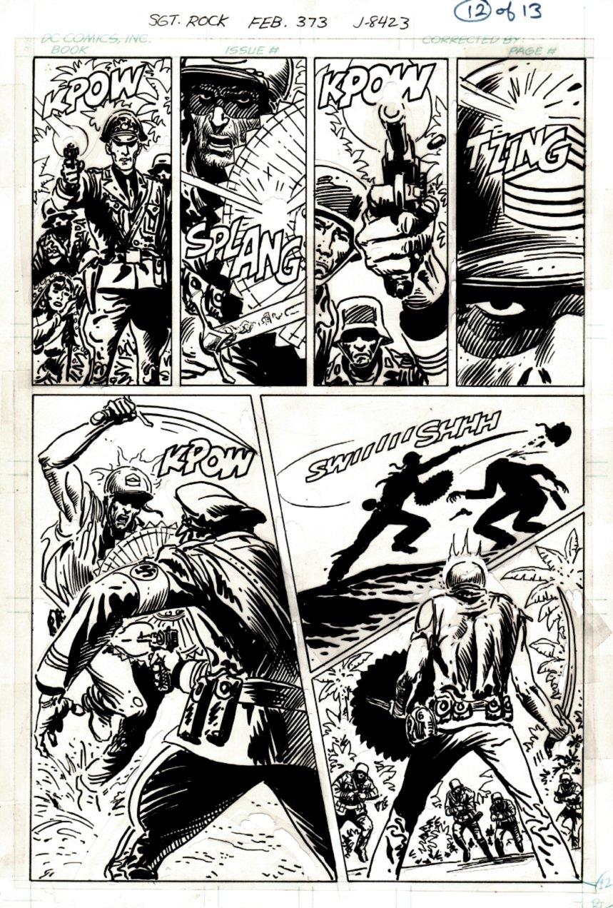 Sgt. Rock #373 p 12 (BEST BATTLE PAGE IN BOOK! SGT ROCK SLICES NAZIS HEAD OFF!) 1982