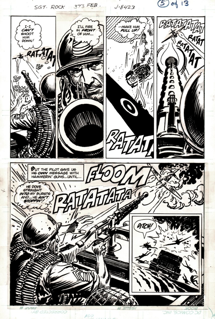 Sgt. Rock #373 p 5 HALF SPLASH (SGT ROCK BATTLES AMERICAN PLANE!) 1982