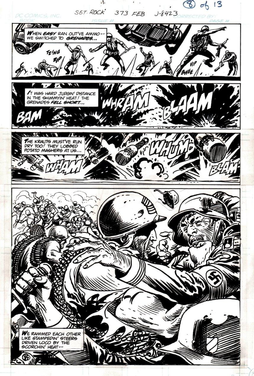 Sgt. Rock #373 p 8 HALF SPLASH (SGT ROCK PUNCHES NAZI SOLDIER!) 1982