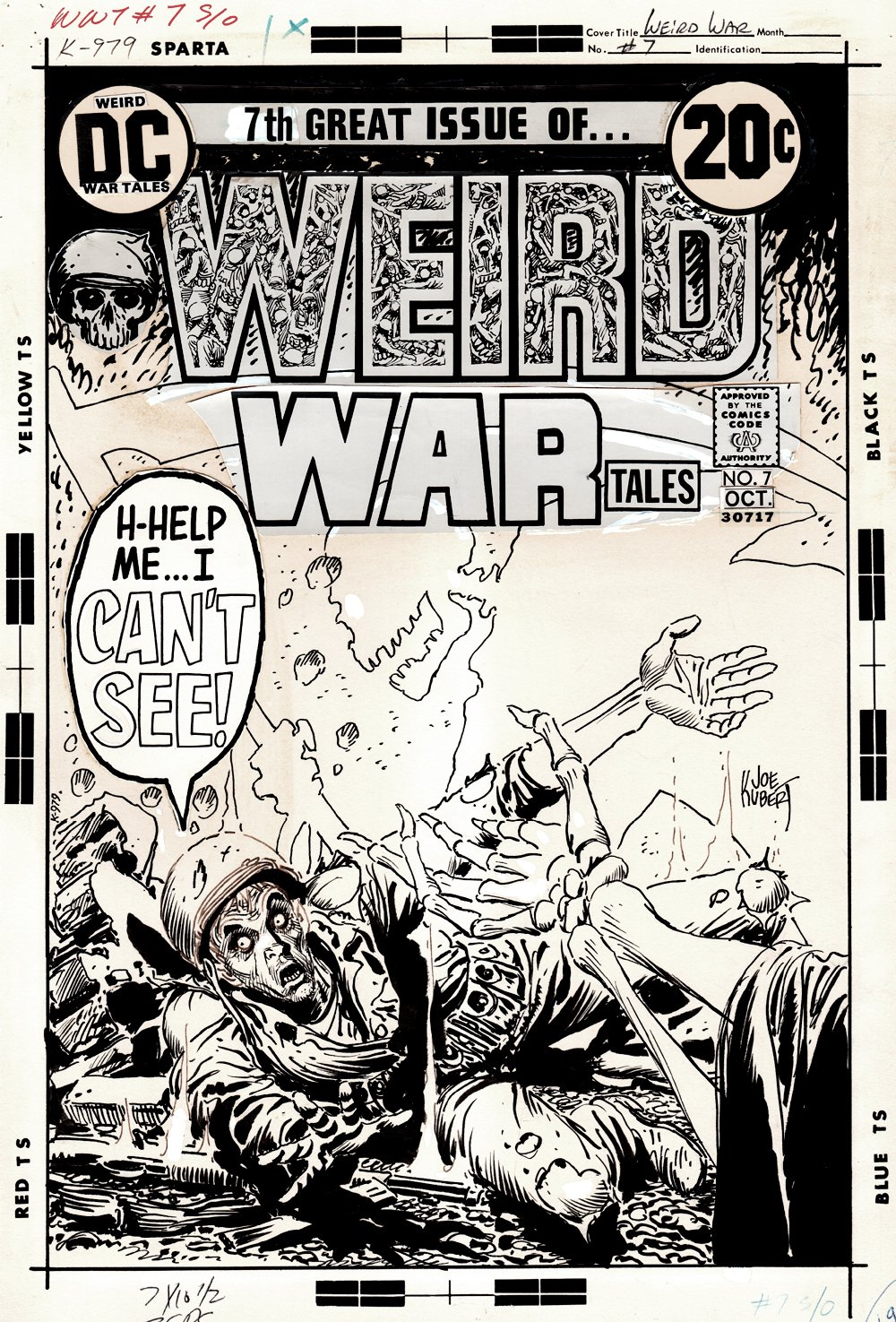 Weird War Tales #7 Cover (Blind Soldier Confronts The Grim Reaper!) 1972