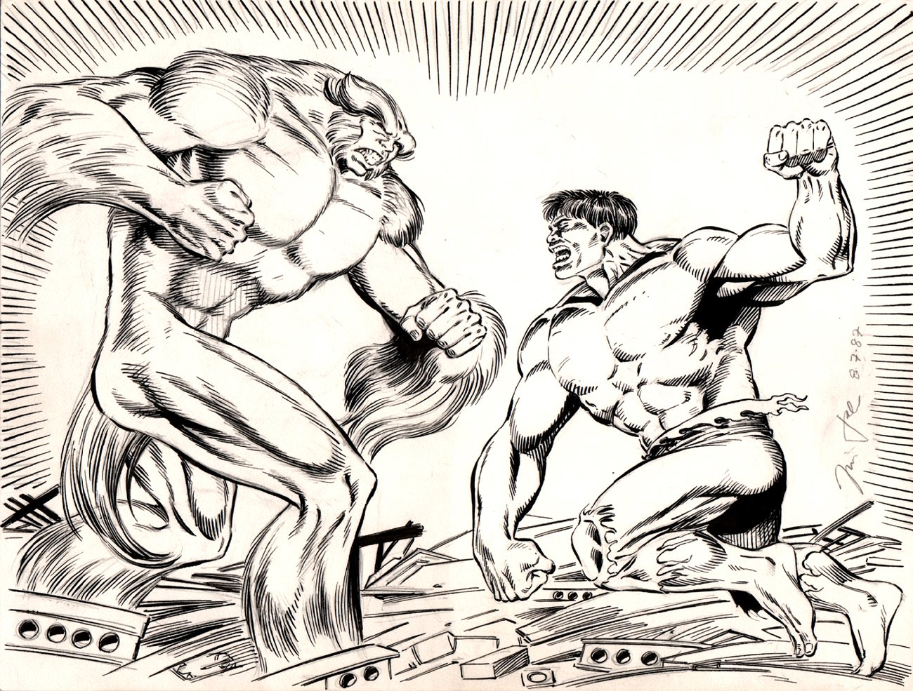 Incredible Hulk vs Sasquatch Penciled & Inked Pinup (1987)