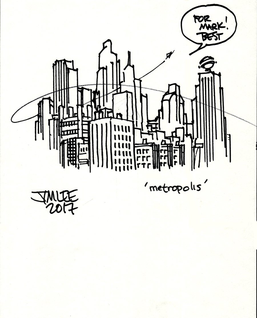 Metropolis Pinup (With Tiny Superman Flying Through) 2017