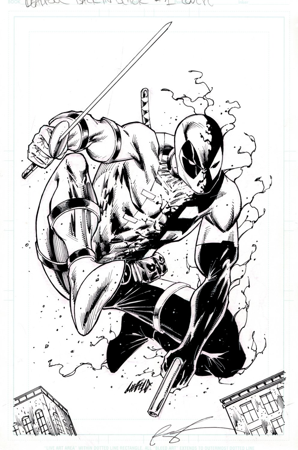 Deadpool: Back in Black #1 Cover (AWESOME 1ST ISSUE COVER PENCILED & INKED BY DEADPOOL'S CREATOR!)