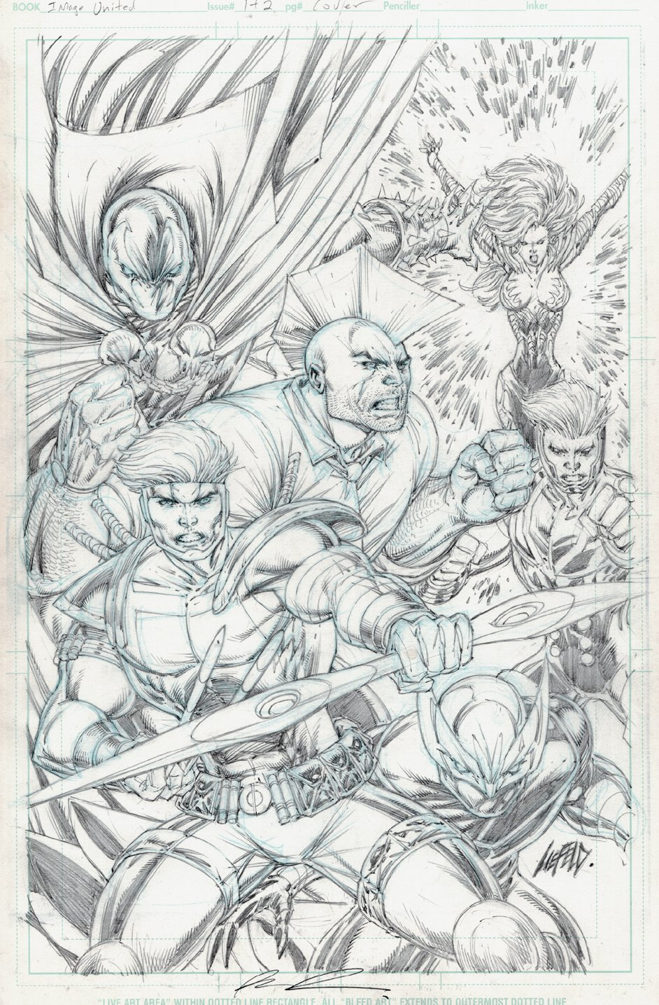 Image United #1 and #2 Covers (Spawn, Witchblade, Savage Dragon, Shaft, Shadowhawk, Fortress) 2009