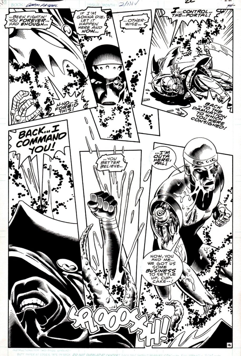 Doom Patrol #2 p 16 (AWESOME ROBOTMAN BATTLE PAGE!) 1987