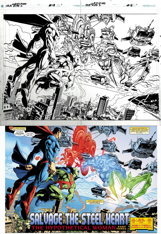 JLA: Classified #18 p 2-3 DPS (Superman & Martian Manhunter Battle Aliens!) 2006