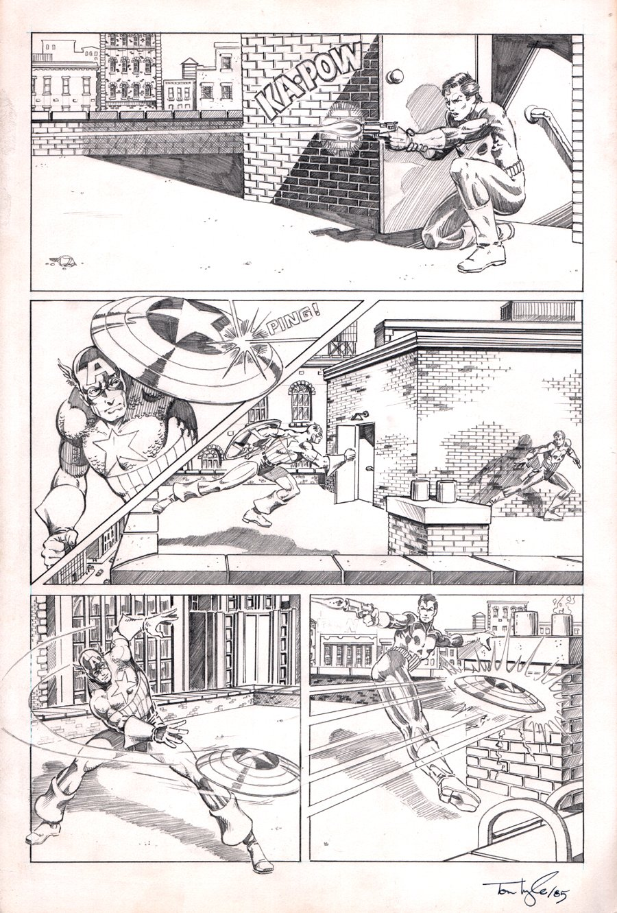 Captain America Vs The Punisher Unused Battle Page (1985)