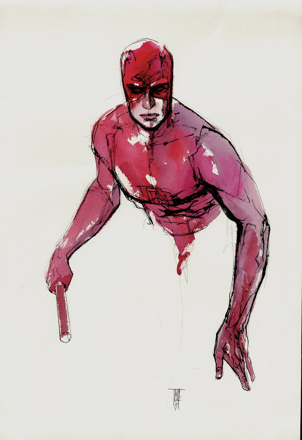 Daredevil Mixed Media Hand Colored Pinup