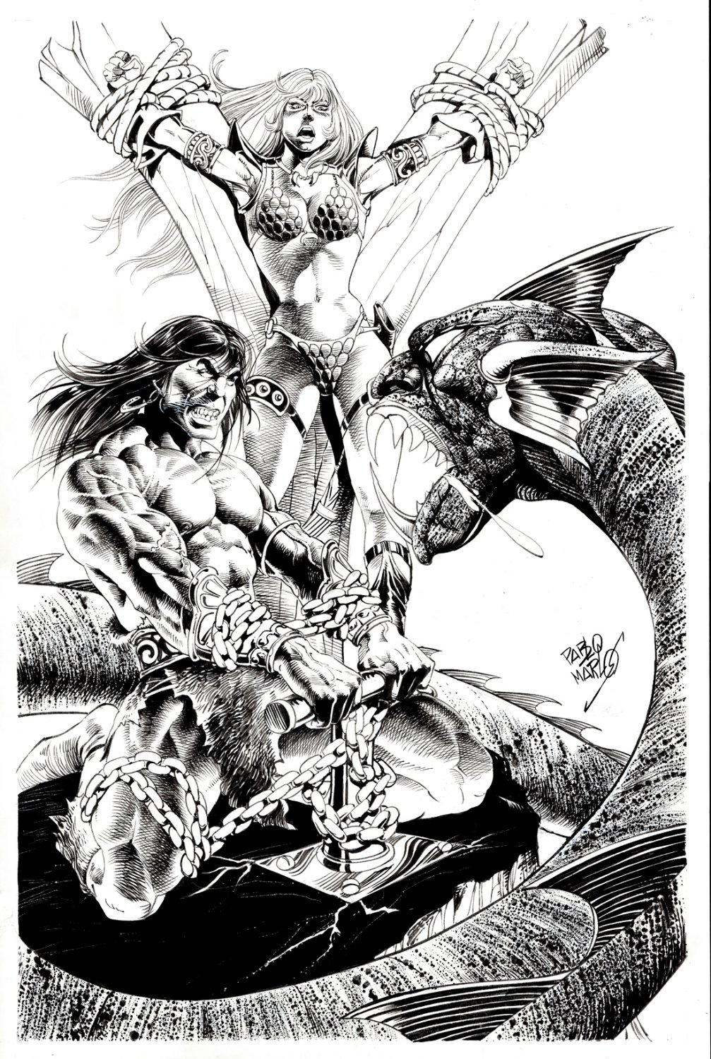 Conan & Red Sonja (SOLD LIVE ON 'DUELING DEALERS OF COMIC ART' EPISODE #38 PODCAST ON 9-29-2021(RE-WATCH THIS FUNNY ART SELLING SHOW HERE)