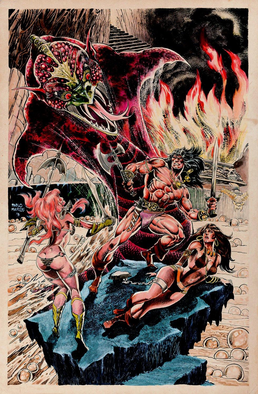 Conan the Barbarian, Red Sonja, & Belit Large Mixed Media Illustration (1978)