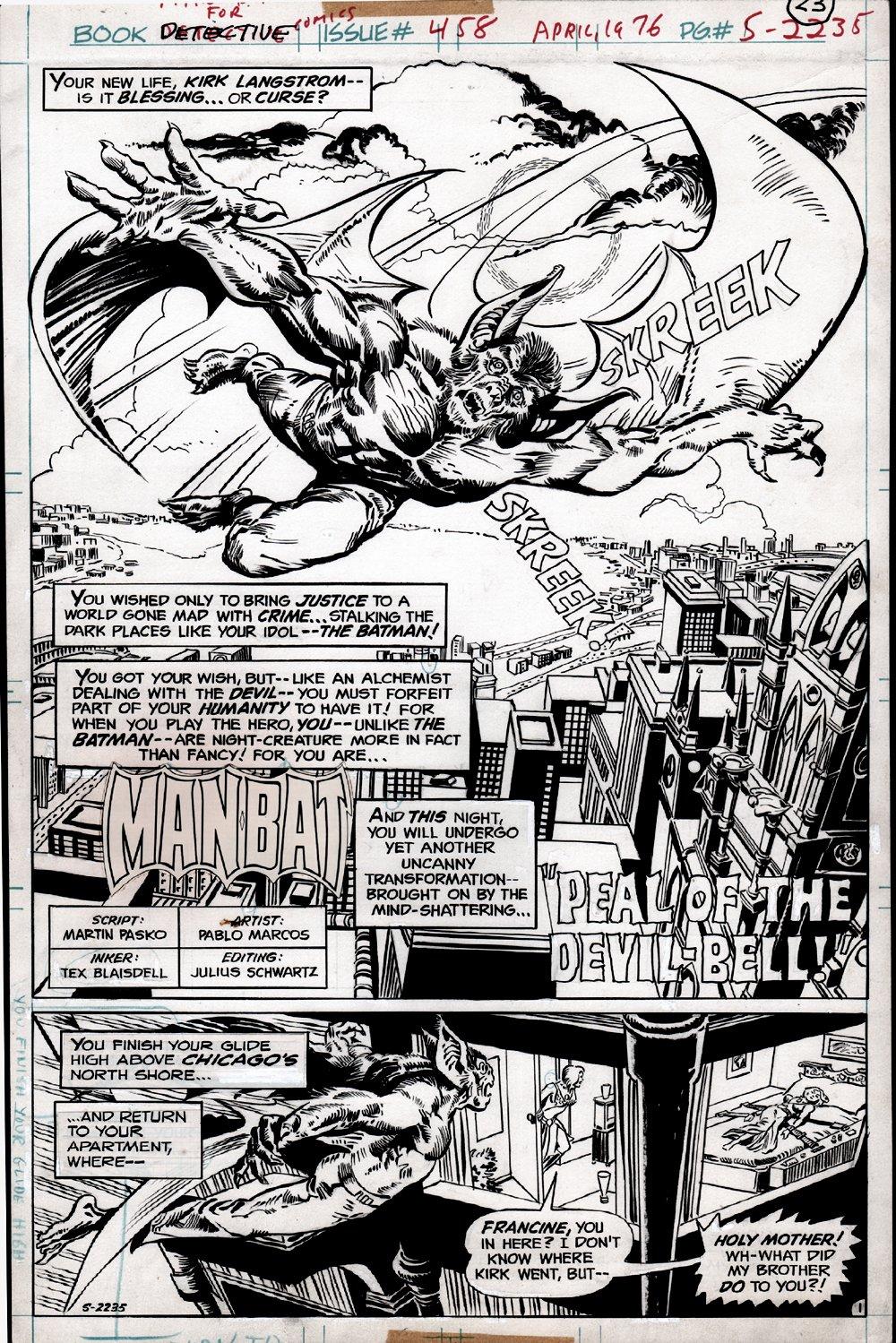 Detective Comics #458 p 1 SPLASH (MAN-BAT!) 1975