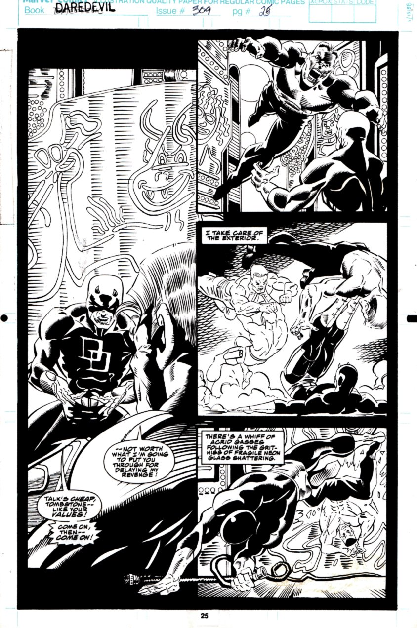 Daredevil #309 p 25 Semi-Splash (Daredevil Battles Tombstone In Every Panel!) 1992