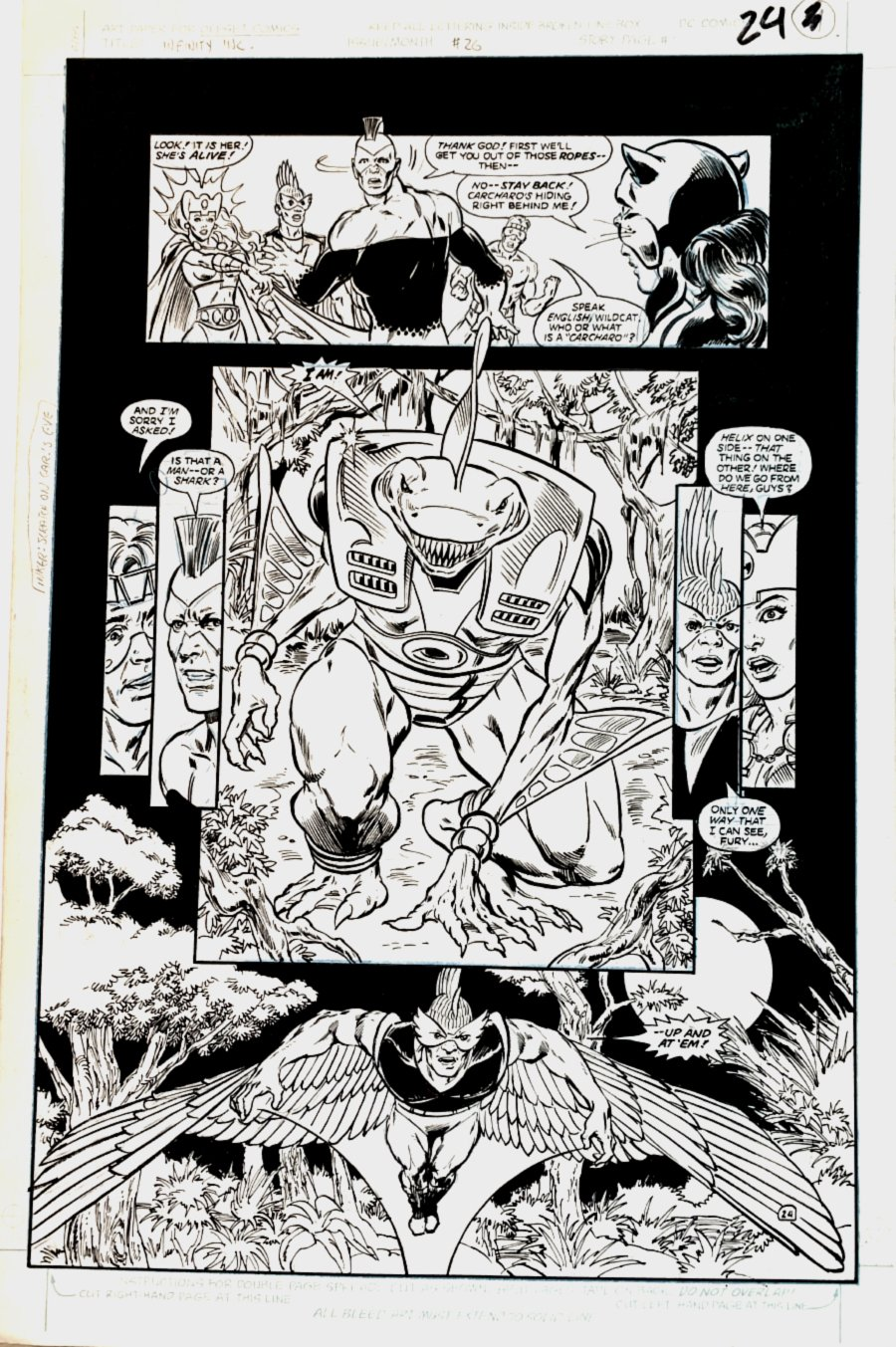 Infinity, Inc. #26 p 24 SPLASH (INFINITY INC. VS CARCHARO!) Large Art -1986