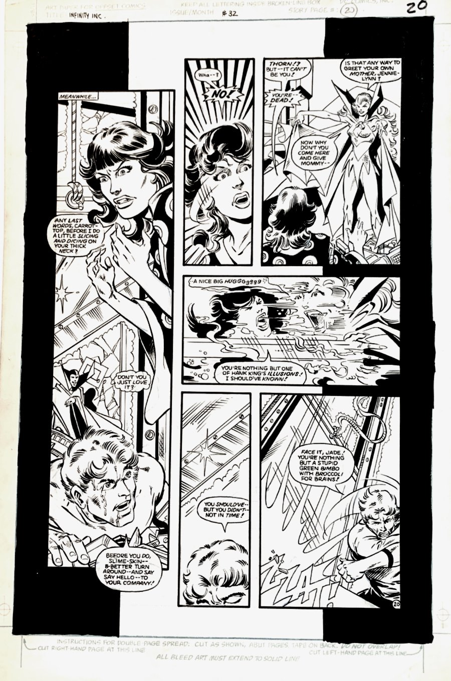 Infinity, Inc. #32 p 20 (Psycho-Pirate Forces Brainwave & Jade To Fight!) Large Art -1986