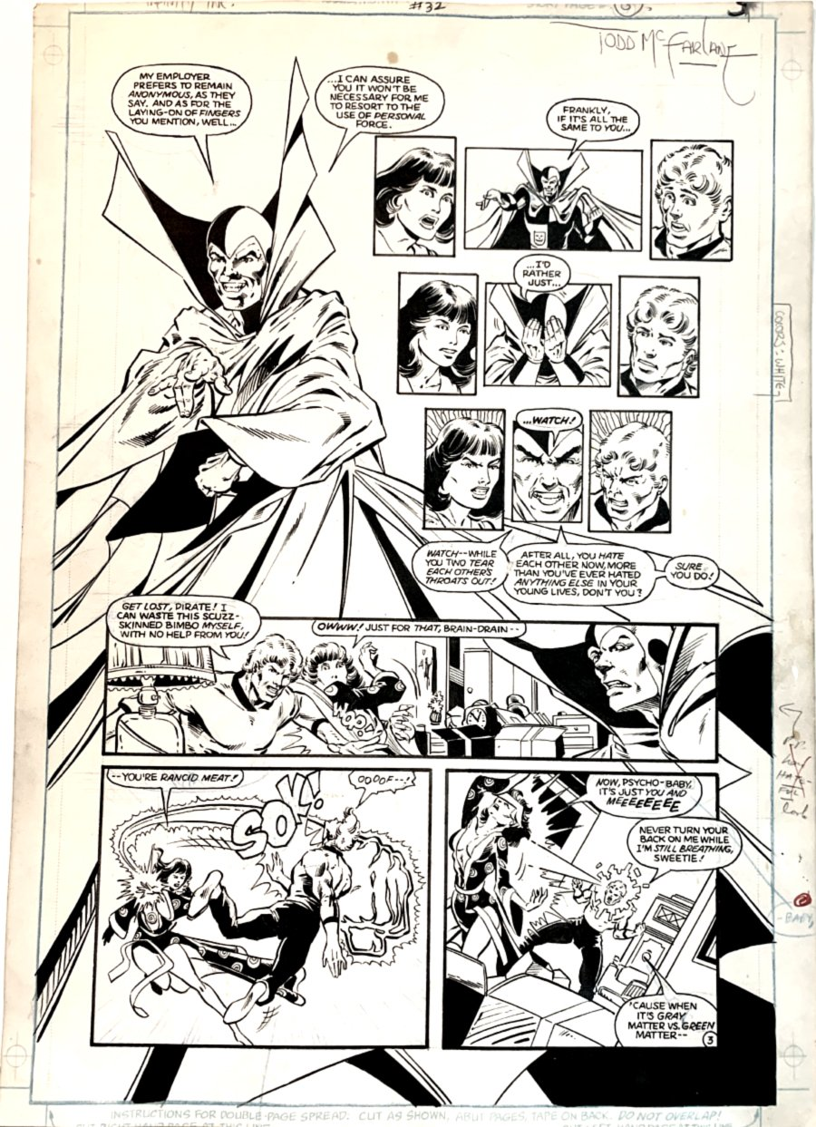 Infinity, Inc. #32 p 3 (Psycho-Pirate Forces Brainwave & Jade To Fight!) Large Art -1986