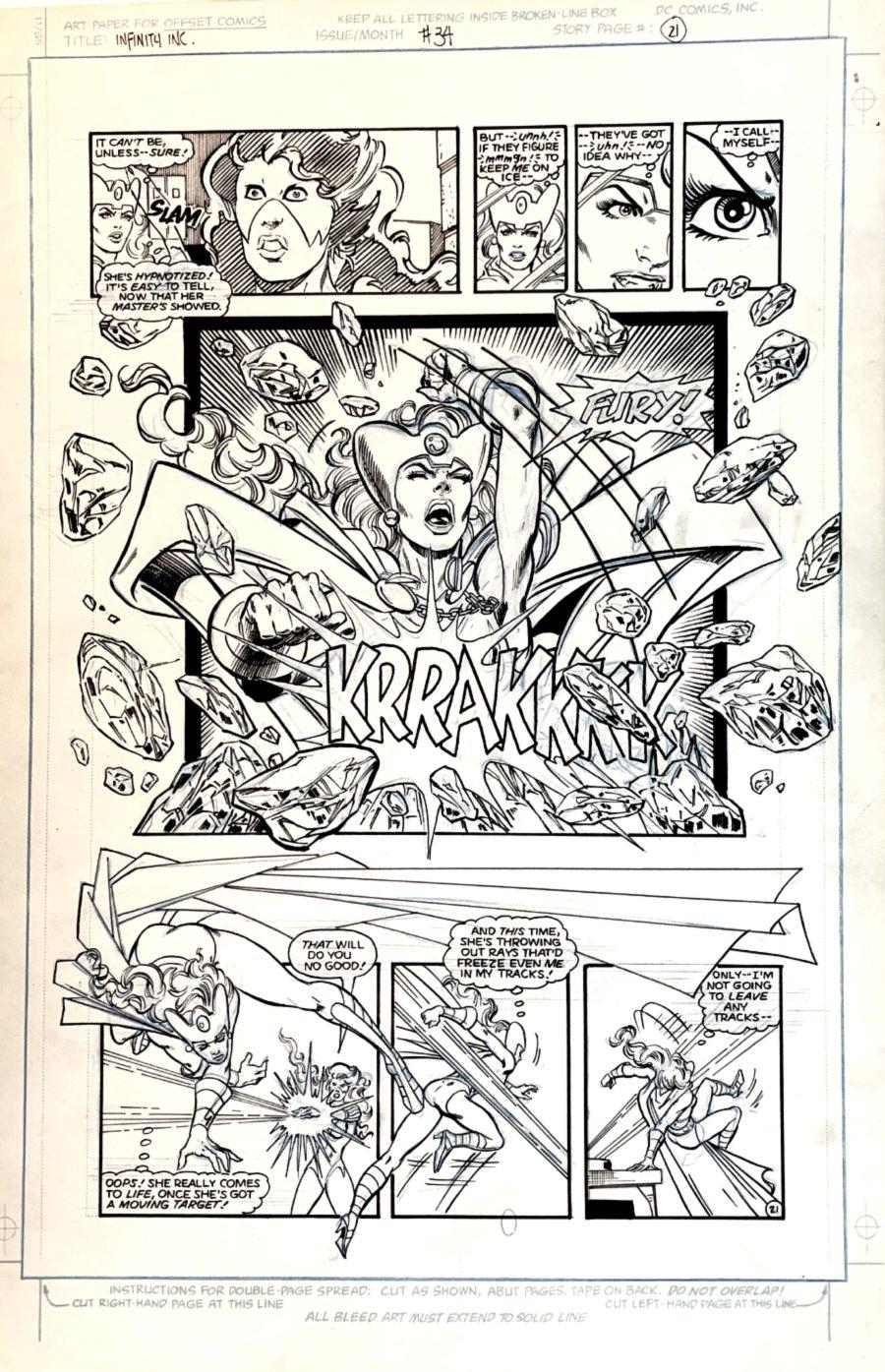 Infinity, Inc. #34 p 21 SEMI-SPLASH (FURY BATTLES ICEMAIDEN!) Large Art -1986